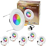 6 inch RGBW Color Smart Downlight Retrofit with Baffle Trim, 850 Lumen, 75W Incandescent Equal, WiFi Access, No Hub Required, Works with Alexa or Google Assistant (6 Pack)