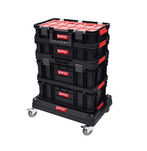 Qbrick XXL Werkstattwagen Rollbox Werkzeugkoffer Mobile Werkstatt Werkzeugwagen PROMO-SET inkl. Leifheit Staubtuch