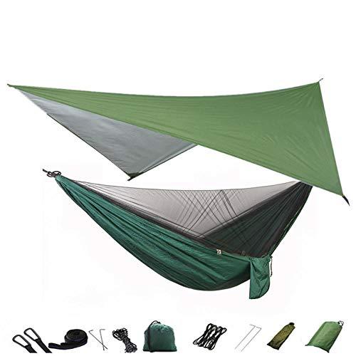 Gifftiy Hangmat, bevestiging, frame, hangmat, camping, muggennet en hangmat, draagbaar, nylon, hangmat, regen, vliegenboom, riemen voor wandelen, kamperen, survival L