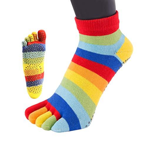 TOETOE - YOGA&PILATES - Anti-Slip Sole Trainer Toe Socks (UK 3-5.5 | EU 35-38, Rainbow Stripy)