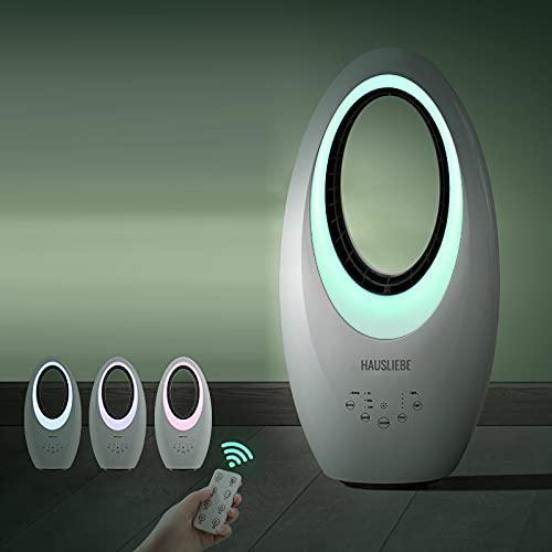 HAUSLIEBE Ventilador de torre oscilante con mando a distancia e iluminación LED, ventilador de columna, ventilador de pie de 3 niveles, ventilador portátil con cable largo (2 m), color blanco TF2