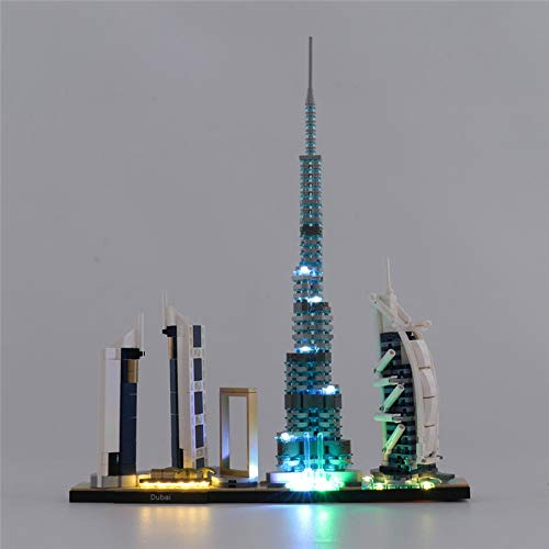 EDCAA LED-Licht-Kit für Architektur Dubai Modell, Skyline Kollektion, Sammlerstück, Baumodell-Set kompatibel mit Lego 21052 (nicht im Lieferumfang enthalten)