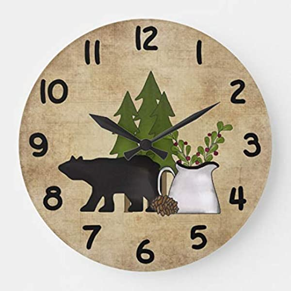 Rustic Country Mountain Bear Silent Wall Clock For Women Christms Clock Gift Battery Operated For Living Room Kitchen Bedroom 12 Inches