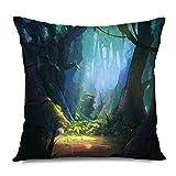 Suo Long Funda de cojín Texturas de fantasía Bosque Encantado CG Pintura de Madera Digital Realista Obra de Arte Animación de la Selva Funda de Almohada Oscura