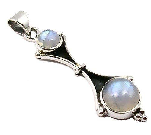 Unique exklusiver Jugendstil Ketten Anhänger echter Mondstein eingefasst in 925 Sterling Silber 3.8 Karat Juweliers- Qualität