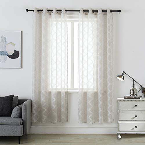 """MOUTAINWIND Curtains 52""""×63"""" Off White Plaid Ikat Curtain for Living Room Semi Sheer Window Drapes for Bedroom Darkening Grommet Top, 2 Panels"""