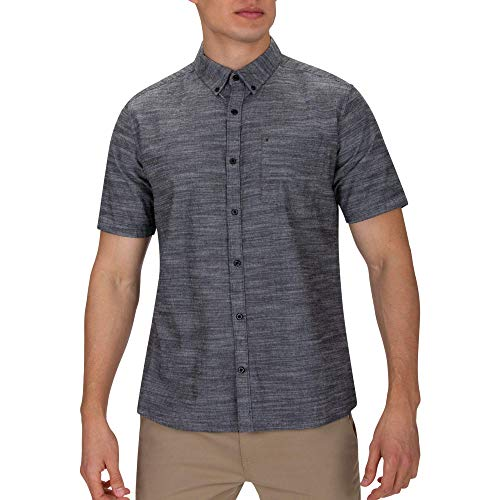 Hurley Men's One & Only Textured Short Sleeve Button Up,...