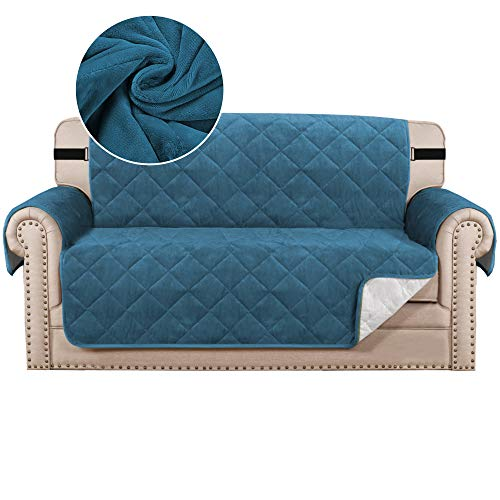 Sofa Cover Quilted Thick Velvet Plush Couch Cover for 2 Cushion Sofa Slipcover Protector from Pets Dogs, Non-Slip Two Elastic Straps on Back and Base (2 Seater, Peacock Blue)