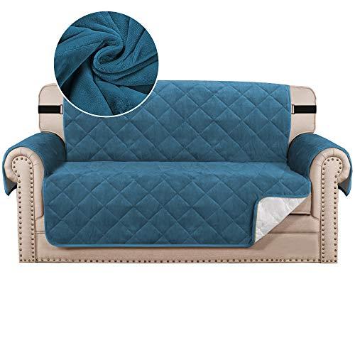 Sofabezug Gesteppt Dicker Samt Plüsch Couchbezug für 2 Kissen Sofa Schonbezug Schutz vor Haustieren Hunden, rutschfeste Zwei Gummibänder auf Rücken und Boden (2-Sitzer, Pfau Blau)