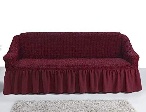 My Palace Giorgia Sofabezug 3-Sitzer Rutschfester Sofaüberwurf Couchcover Sofa Überwurf elastische Sofahusse Couchbezug Sofaschonbezug 140-210cm Weinrot