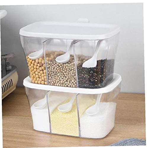 1pc Condimento Storage Box 3 Scomparti Condimento Storage Box Contenitore con Il Cucchiaio Condimento Vasi per Spice Zucchero Sale (Colore Casuale)