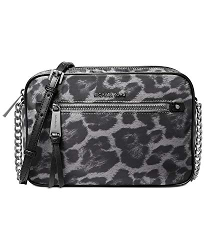 Made of Fine nylon with Leopard print and leather trim; Zip top closure; Front zip pocket; 1 open large compartment with open pocket and 2 slip pockets Adjustable Chain and Leather shoulder strap with 25.5 inches drop Silver hardware Measurements: Le...