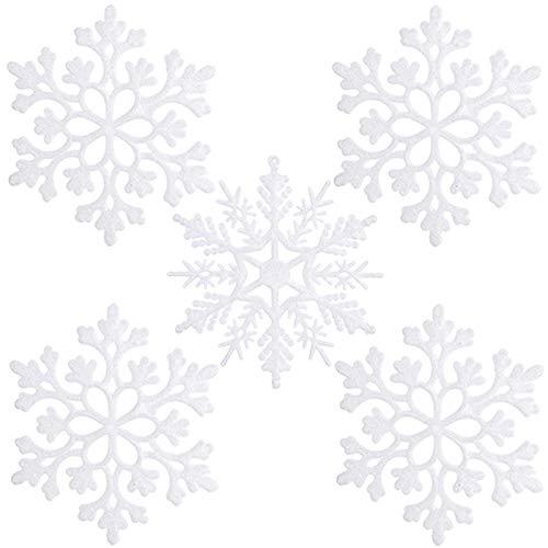 ETHEL Schneeflocken Weihnachten Deko,24 Stück Weihnachten Schneeflocken,Weihnachten Schneeflocken Anhänger, für zu Hause Weihnachten Hochzeit Urlaub Party Dekorationen (Weiß)