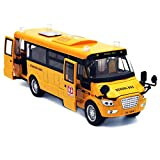 【Multifunction School Bus Model】High simulated, it has the functions of pull back, flashing light, playing music, moveable doors, broadcasting bus start and arrival information. Great toys & gifts for kids. 【Pull Back Vehicle】Pull the School Bus back...