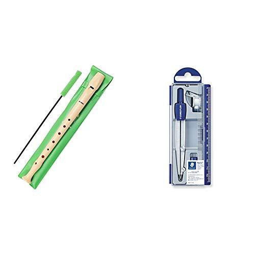 Hohner 9508 Flauta de Plástico + Staedtler Noris Club 550, Set de Dibujo Estuche, Compás Escolar, Adaptador y Tubo de Minas, Azul/Metálico