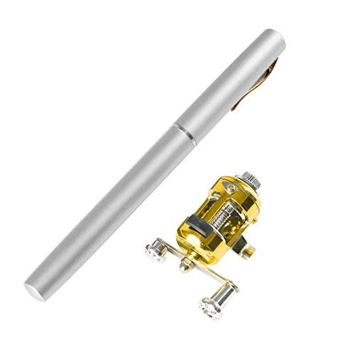 Pen Fishing Rod,Tuscom Portable Mini Telescopic Pocket Fish Pen Aluminum Alloy Fishing Rod Pole + Reel (Silver)