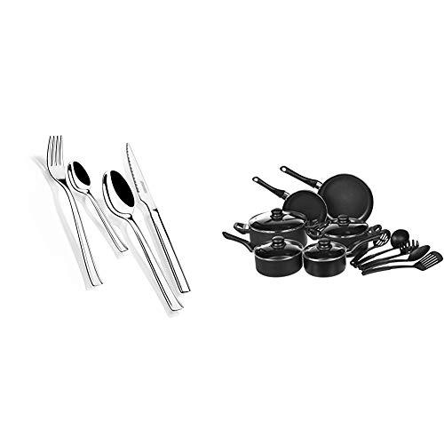 Monix Europa - Set de cubiertos 24 piezas de acero inoxidable con cuchillo chuletero, acabado pulido brillo. + Amazon Basics - Juego de utensilios de cocina antiadherentes, 15 piezas