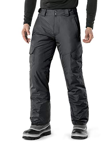 TSLA Men's Snow Pants Windproof Ski Insulated Water-Repel Rip-Stop Bottoms, Snow Cargo(ykb83) - Charcoal, X-Large x Waist 36-37 Inch