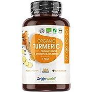 Organic Turmeric Curcumin Capsules with Organic Ginger and Organic Black Pepper -365 Vegan Turmeric Capsules High Strength(1 Year Supply)- Soil Association Certified Turmeric Supplements -Made in EU