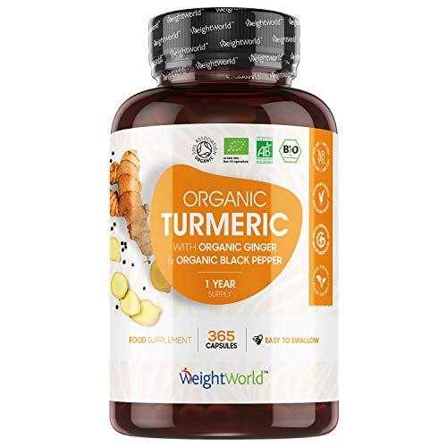 Curcuma Bio 365 Gélules + Poivre Noir et Gingembre - 1 an d'utilisation - WeightWorld | Avec de la Curcumine Bio et Pipérine (Organic Turmeric) - Haute absorption - Fabriqué en UE