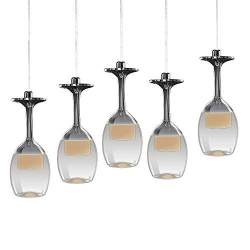 LED Lampadario a Sospensione Moderna Lüster Pendente Regolabile Lampadario 5 bicchiere di vino Lampada (bianco caldo)
