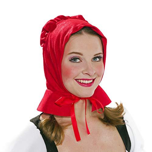 NET TOYS Süße Rotkäppchen-Haube für Frauen - Rot - Märchenhaftes Damen-Kostüm-Zubehör Mittelalter Kappe - Genau richtig für Karneval & Mottoparty