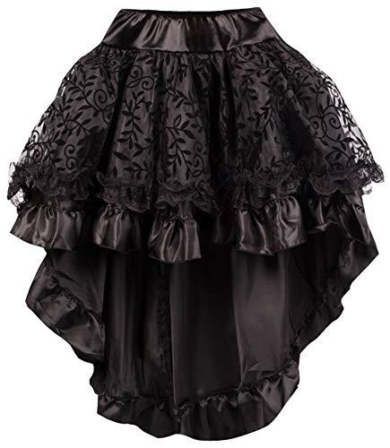 r-Dessous Damen Rock schwarz Burleske Victorian Gothic Steampunk Skirt Corsage Chiffon Übergrößen Vintage Groesse: S/M