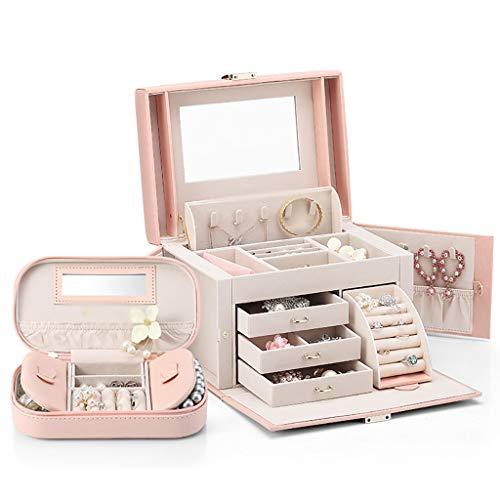 ZZL Caja de Joyería Caja de joyería reflejada Organizador de Gran Capacidad Caja de Viaje portátil de joyería de Caja de Almacenamiento Collar Jewelry Box (Color : Pink)