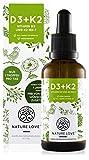 NATURE LOVE Vitamin D3 + K2 Tropfen 50ml - Hoch bioverfügbar durch Original VitaMK7 + hoch bioverfügbares D3 (1000 IE). Jede Charge laborgeprüft, flüssig, hochdosiert, hergestellt in Deutschland