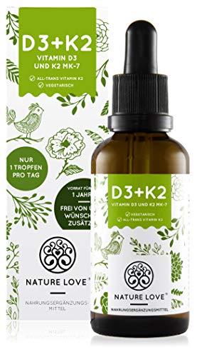 NATURE LOVE® Vitamin D3 + K2 (50ml flüssig) - Hoch bioverfügbar durch Original VitaMK7® 99,7{4d6dcc293e7efe6cdb75c3e42ab47899e5ae895bfb015e536eaaf3ab753c72cb} All-Trans + laborgeprüfte 1000 I.E. Vitamin D3 pro Tropfen - Hochdosiert, in Deutschland produziert