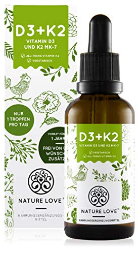 NATURE LOVE® Vitamin D3 + K2 (50ml...