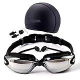 Gafas Natación Set Cap Nariz Clip Tapón Impermeable Negra Silicona Anti Niebla Protección UV sin Fugas para Adultos Hombres Mujeres