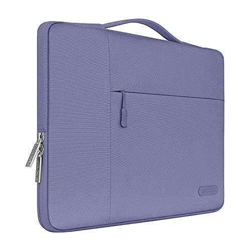 MOSISO Laptop Aktentasche Kompatibel mit MacBook Air 13 M1 A2337 A2179 A1932 2018-2020,MacBook Pro 13 A2338 A2251 A2289 A2159 A1989 A1706 A1708,Polyester Multifunktion Sleeve Hülle,Lavendel Grau