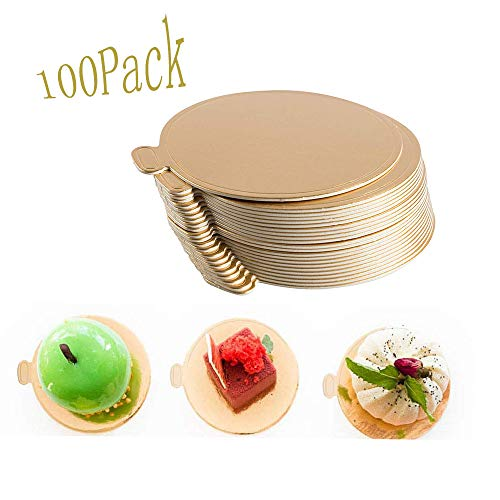 100-Pack Mini Cake Base Boards, Gold Mousse Cake Cardboard Set, Ideal for Dessert Buffet, Wedding, Parties, Catering Supplies (Round)