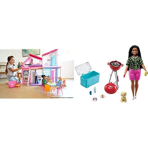 Barbie Casa Malibu (Mattel FXG57) y Set de Juego con Barbacoa Aromatizada, Perrito y Accesorios de Juguete para Muñecas (Mattel GRG76)