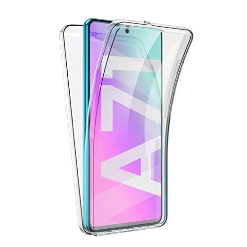 All Do Funda para Samsung Galaxy A71, 360 Grados Protección Diseñada, Transparente Ultrafino Silicona TPU Frente y PC Back Carcasa Belleza Original Funda de Doble Protección - Transparente