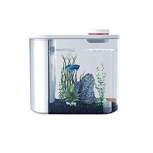 TWW Intelligente Fernbedienung des Ökologischen Aquariums, Automatische Fütterung Ohne Wasserwechsel, Kleines Desktop-Aquarium Aus Acryl Im Wohnzimmer