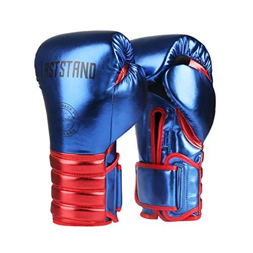 XYXZ Guantes De Boxeo MMA Muay Thai Guantes De Boxeo De Cuero De Microfibra Adultos Niños Mujeres Hombres MMA Gym Training Grant Equipos De Boxeo, Azul, 8Oz