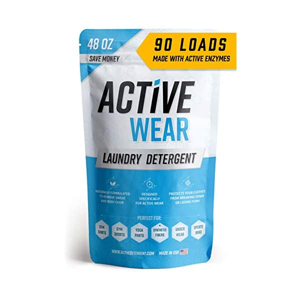 Active Wear Laundry Detergent – Formulated for Sweat and Workout Clothes – Natural Performance Sport-Wash Concentrate – Enzyme Booster Deodorizer – Powder Wash for Activewear Gym Apparel (90 Loads)