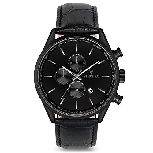 Reloj de Pulsera Chrono S Caballeros Vincero – Negro Mate con Correa de Cuero Negro – Reloj Cronógrafo de 43mm – Movimiento de Cuarzo Japonés