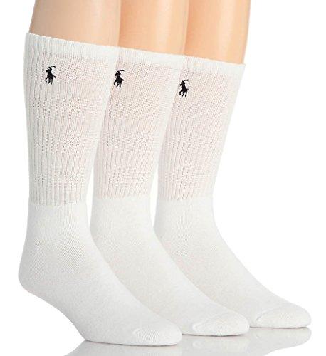 Polo Ralph Lauren Men's 3 Pack Classic Cushioned Long Crew Socks - White