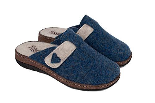 3Rose Ciabatte/Pantofole Donna Invernali MOD. Daphne, comode da casa e da Esterno, Tomaia Regolabile Velcro, Plantare Estraibile in Lana Cotta, Art. 1603 (Avio, Numeric_37)