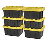 Original BLACK & YELLOW 5-Gallon Tough Storage Containers with Lids, Stackable (6 Pack)