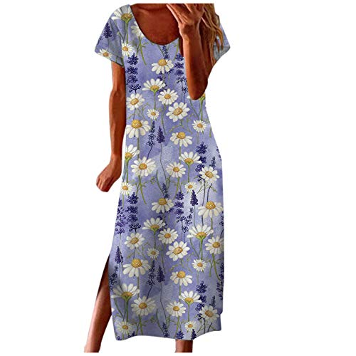 Xmiral Damen Kleid Kurzarm Rundhals Blumenmuster Sommerkleid Freizeitkleid mit Geschlitztem Saum(Lila,M)