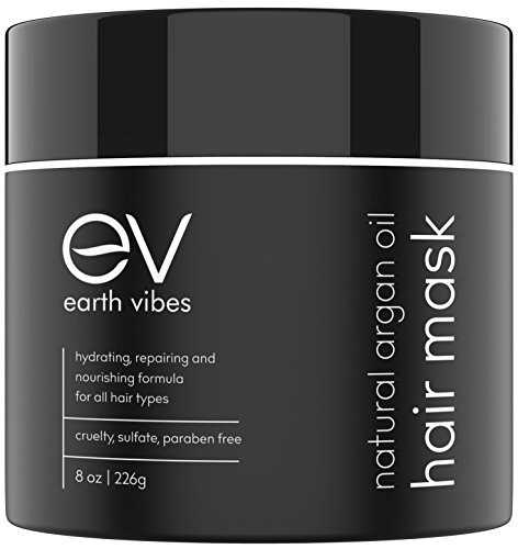 Earth Vibes Hydrating Argan Oil Hair Mask Conditioner - Deep Conditioning & Moisturizing - Hair Repair Treatment For Dry Damaged Hair - Sulfate Free - Organic Jojoba Oil, Coconut Oil - (8 Oz/226g)