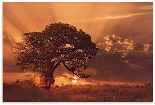 Imprimir En Lienzo 40x60cm Sin Marco Póster de Baobab africano y decoración de dormitorio familiar moderno con impresión de arte de pared