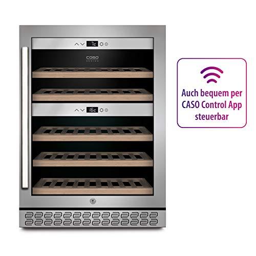 CASO WineChef Pro 40 – Design Weintemperierer – unterbaufähig – Weinkühlschrank für bis zu 40 Flaschen, 2 getrennte Zonen, 5°C – 20°C, Touch-Steuerung - auch per CASO WineControl App steuerbar