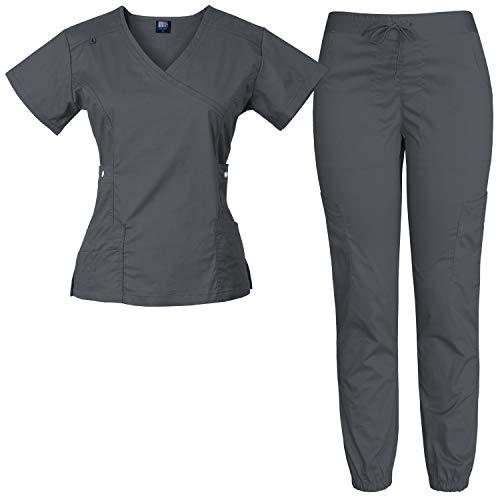 Medgear Women's 12-Pocket Stretch Jogger Scrub Set (Charcoal, Medium)