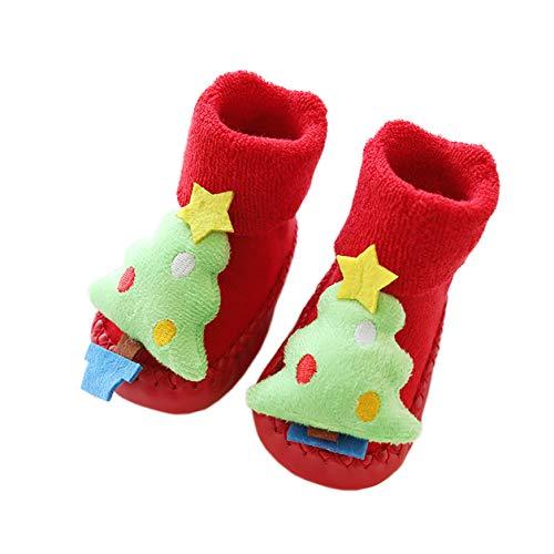 AMEIDD Calcetines de Navidad para bebé Calcetines cálidos antideslizantes para el suelo Zapatilla de invierno para bebé Regalo de Navidad por 0-18 meses (B, 13cm 12-18 meses)
