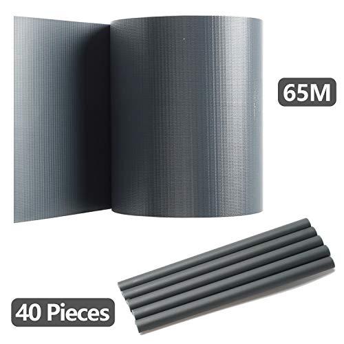 Hengda PVC Sichtschutzstreifen für Doppelstabmatten, Anthrazit, 65 m x 19 cm mit 40 Clips, PVC Sichtschutzfolie für Zaun, Gartenzaun, Doppelstabmattenzaun, Sichtschutz, Beidseitiger Druck